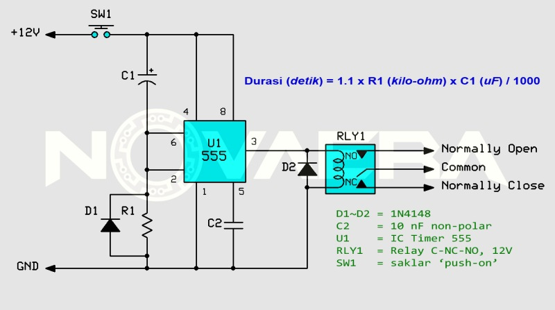 relay switching delay with 555 monostable
